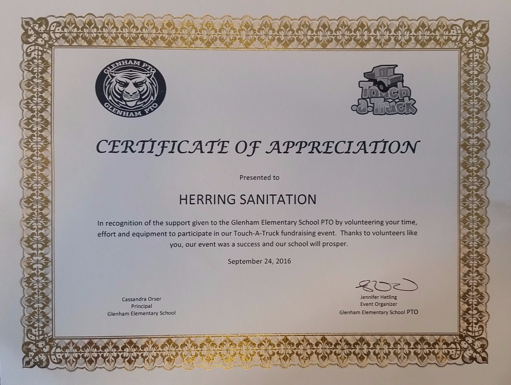 Herring Sanitation Touch-a-Truck Certificate of Appreciation from Glenham Elementary School PTO