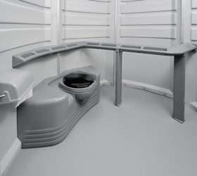 Interior of ADA Handicapped Accessible Portable Toilet Portapotty