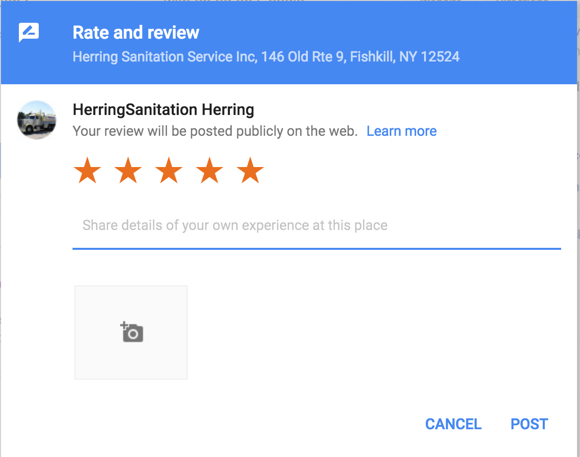 How to Leave a Google Review Screen Shot for Herring Septic Fishkill Newburgh Poughkeepsie